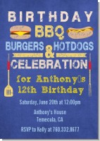 BBQ Hotdogs and Hamburgers - Birthday Party Invitations