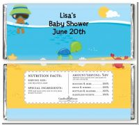 Beach Baby African American Boy - Personalized Baby Shower Candy Bar Wrappers