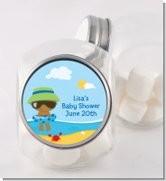 Beach Baby African American Boy - Personalized Baby Shower Candy Jar