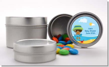 Beach Baby African American Boy - Custom Baby Shower Favor Tins