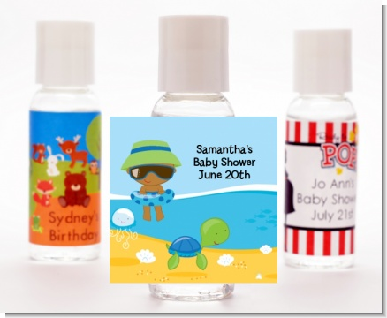 Beach Baby African American Boy - Personalized Baby Shower Hand Sanitizers Favors