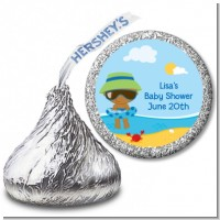 Beach Baby African American Boy - Hershey Kiss Baby Shower Sticker Labels