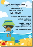 Beach Baby African American Boy - Baby Shower Invitations