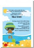 Beach Baby African American Boy - Baby Shower Petite Invitations