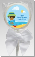 Beach Baby African American Boy - Personalized Baby Shower Lollipop Favors