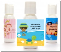 Beach Baby African American Boy - Personalized Baby Shower Lotion Favors