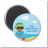 Beach Baby African American Boy - Personalized Baby Shower Magnet Favors