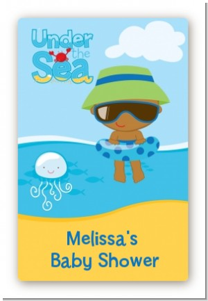 Beach Baby African American Boy - Custom Large Rectangle Baby Shower Sticker/Labels