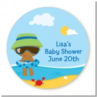 Beach Baby African American Boy - Round Personalized Baby Shower Sticker Labels