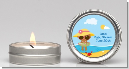 Beach Baby African American Girl - Baby Shower Candle Favors