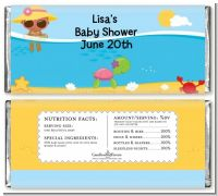 Beach Baby African American Girl - Personalized Baby Shower Candy Bar Wrappers