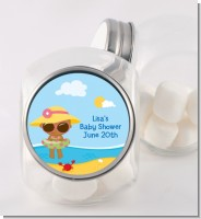 Beach Baby African American Girl - Personalized Baby Shower Candy Jar