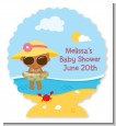 Beach Baby African American Girl - Personalized Baby Shower Centerpiece Stand thumbnail