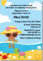 Beach Baby African American Girl - Baby Shower Invitations