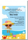 Beach Baby African American Girl - Baby Shower Petite Invitations