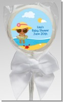 Beach Baby African American Girl - Personalized Baby Shower Lollipop Favors