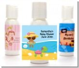Beach Baby African American Girl - Personalized Baby Shower Lotion Favors