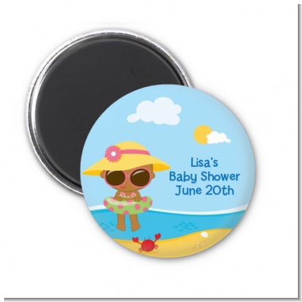 Beach Baby African American Girl - Personalized Baby Shower Magnet Favors
