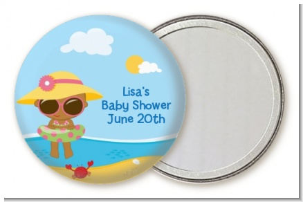 Beach Baby African American Girl - Personalized Baby Shower Pocket Mirror Favors