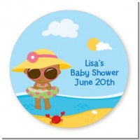 Beach Baby African American Girl - Round Personalized Baby Shower Sticker Labels