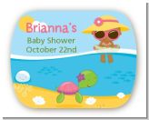 Beach Baby African American Girl - Personalized Baby Shower Rounded Corner Stickers