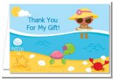 Beach Baby African American Girl - Baby Shower Thank You Cards