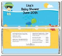 Beach Baby Asian Boy - Personalized Baby Shower Candy Bar Wrappers