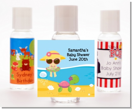 Beach Baby Asian Girl - Personalized Baby Shower Hand Sanitizers Favors