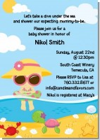 Beach Baby Asian Girl - Baby Shower Invitations