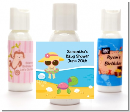 Beach Baby Asian Girl - Personalized Baby Shower Lotion Favors