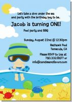 Beach Baby Boy - Birthday Party Invitations