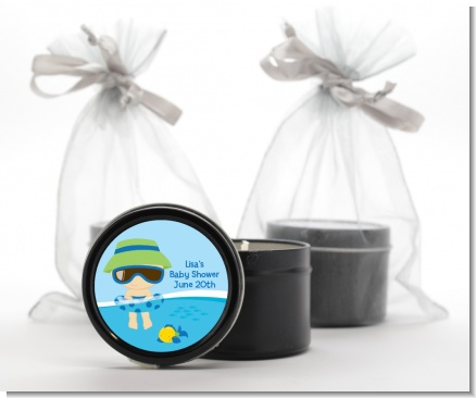 Beach Baby Boy - Baby Shower Black Candle Tin Favors
