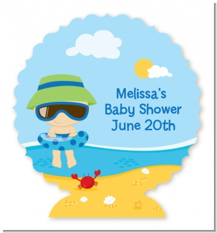 Beach Baby Boy - Personalized Baby Shower Centerpiece Stand