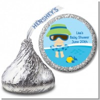 Beach Baby Boy - Hershey Kiss Baby Shower Sticker Labels