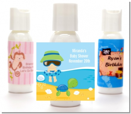Beach Baby Boy - Personalized Baby Shower Lotion Favors