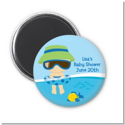 Beach Baby Boy - Personalized Baby Shower Magnet Favors