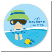 Beach Baby Boy - Round Personalized Baby Shower Sticker Labels