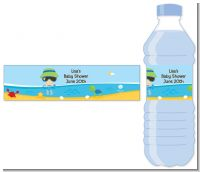 Beach Baby Boy - Personalized Baby Shower Water Bottle Labels