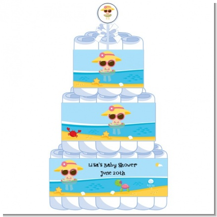 Beach Baby Girl - Personalized Baby Shower Diaper Cake 3 Tier