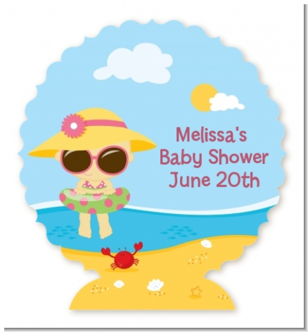 Beach Baby Girl - Personalized Baby Shower Centerpiece Stand