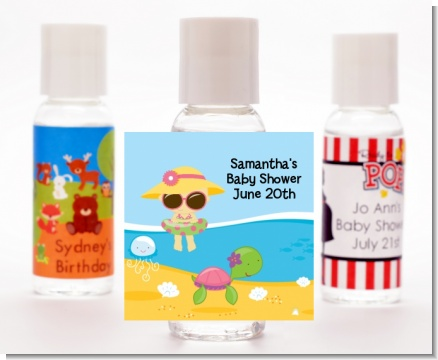 Beach Baby Girl - Personalized Baby Shower Hand Sanitizers Favors