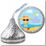 Beach Baby Girl - Hershey Kiss Baby Shower Sticker Labels