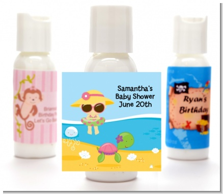 Beach Baby Girl - Personalized Baby Shower Lotion Favors