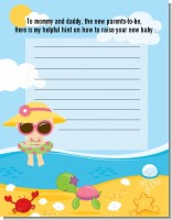 Beach Baby Girl - Baby Shower Notes of Advice