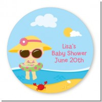 Beach Baby Girl - Round Personalized Baby Shower Sticker Labels