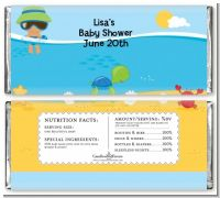 Beach Baby Hispanic Boy - Personalized Baby Shower Candy Bar Wrappers