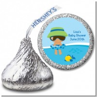 Beach Baby Hispanic Boy - Hershey Kiss Baby Shower Sticker Labels