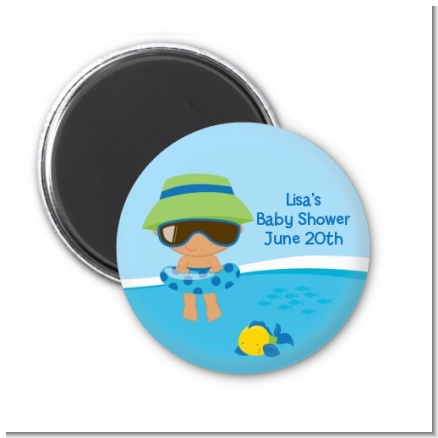 Beach Baby Hispanic Boy - Personalized Baby Shower Magnet Favors