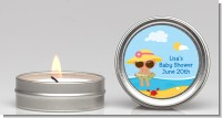 Beach Baby Hispanic Girl - Baby Shower Candle Favors