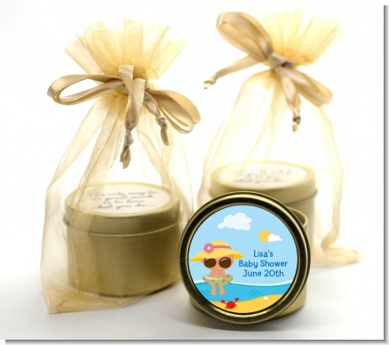 Beach Baby Hispanic Girl - Baby Shower Gold Tin Candle Favors